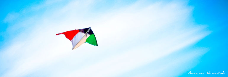 A Kite made of Kuwait's flag colors